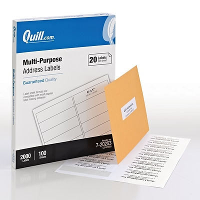 Quill Brand® Laser/InkJet Address Labels, 1 x 4, White, 2000 Labels Per Box (720253)