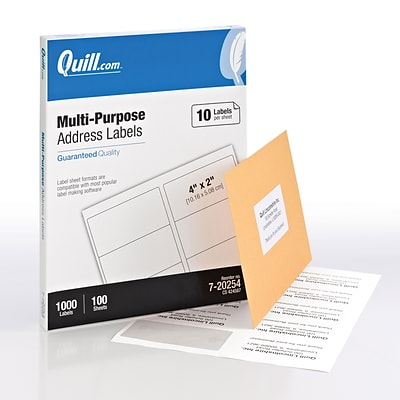 Quill® Multipurpose Print Labels; White, 2x4, 1000 Labels