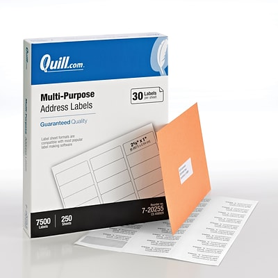 Quill Brand® Laser/InkJet Address Labels, 1 x 2-5/8, White, 7500 Labels Per Box (720255)