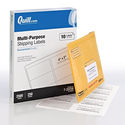 Quill Brand® Laser/InkJet Shipping Labels, 2 x 4, White, 2500 Labels Per Box (720256)