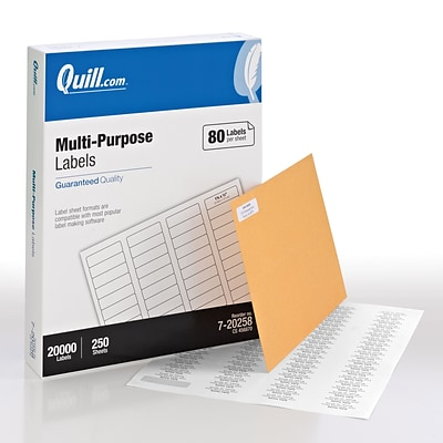 Quill® Multipurpose Print Labels; White, 1/2x1-3/4, 20000 Labels