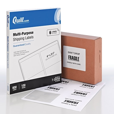 Quill Brand® Laser/InkJet Shipping Labels, 3-1/3 x 4, White, 600 Labels Per Box (720259)