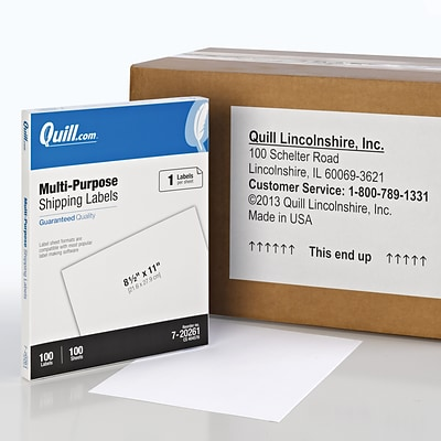 Quill Brand® Laser/InkJet Shipping Labels, 8-1/2 x 11, White, 100 Labels Per Box (720261)