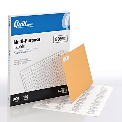Quill Brand® Laser/InkJet Multi-Purpose Labels, 1/2 x 1-3/4, White, 8000 Labels Per Box (720270)