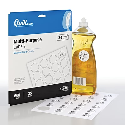 Quill Brand® Laser/InkJet Multi-Purpose Labels, 1-2/3 Dia., White, 600 Labels Per Box (720349)