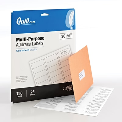 Quill Brand® Multipurpose Laser Labels, 1 x 2-5/8, White, 30 Labels/Sheet, 25 Sheets/Box (720354)