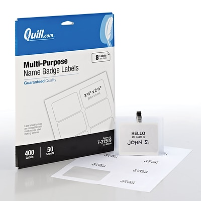 Quill® Name Badges; White, 2-1/3x3-3/8, 400/Pack, Comparable to Avery 5395