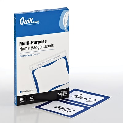 Quill Brand® Name Badges; White with Blue, 2-1/2x3-1/2, 100/Pack
