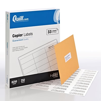 Quill® Multipurpose Labels; White, 1x2-3/4, 8250 Labels, Comparable to Avery 5332