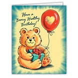 Medical Arts Press® Birthday Greeting Cards; Bear with  Present, Personalized