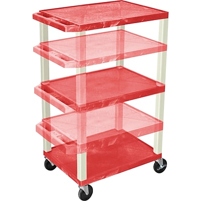 H. Wilson® Adjustable-Height A/V Carts; Red