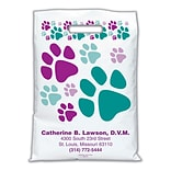 Medical Arts Press® Veterinary Personalized Large 2-Color Supply Bags, Large & Small Paw Prints