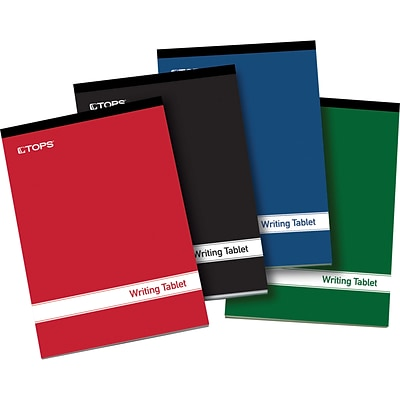 Tops® Writing Tablet; 6X9 Writing Tablet, Assorted Cover Colors, 100 Sheets/Pad