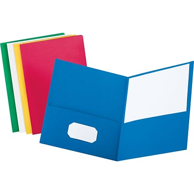 Quill Brand® 2-Pocket Folders without Fasteners; Assorted
