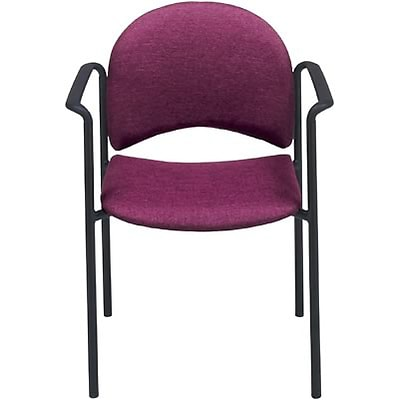 MLP Stacking Chairs; European-Style with Arms, Black Fabric, Black Frame