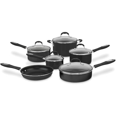 Advantage Non Stick Aluminum 11 Piece Cookware Set Black