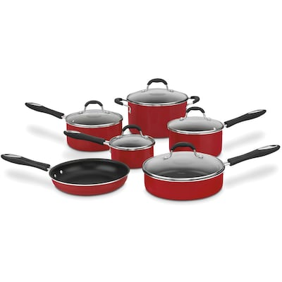 Advantage Non Stick Aluminum 11 Piece Cookware Set Red