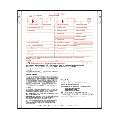 W-3 Forms for Strike Printers or Typewriters
