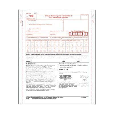 TOPS 2-Part 1096 Forms, Carbonless, 10 forms per pack (2202Q)