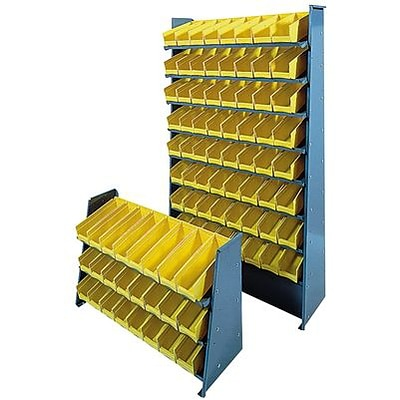 Edsal® Steel Pick Rack with Angled Plastic Parts Bin; 3-Shelves, 24-Bins, 22Hx35Wx12D, Gray/Yellow
