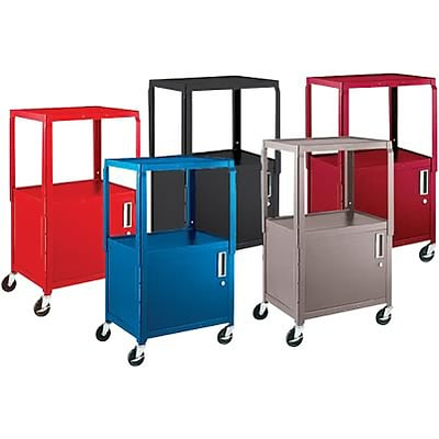 H. Wilson® Extra-Strong Colored Metal Utility Carts with Cabinets; Red