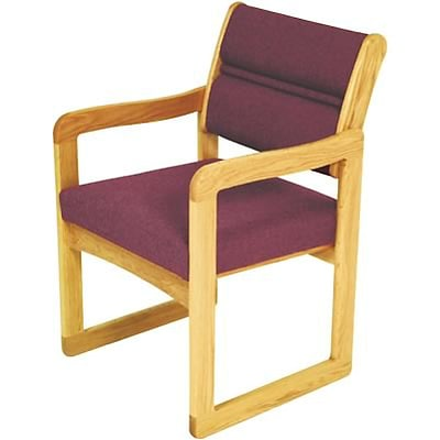 Wooden Mallet® Dakota Wave Series Single Base Chairs with Arms in Vinyl; Burgundy