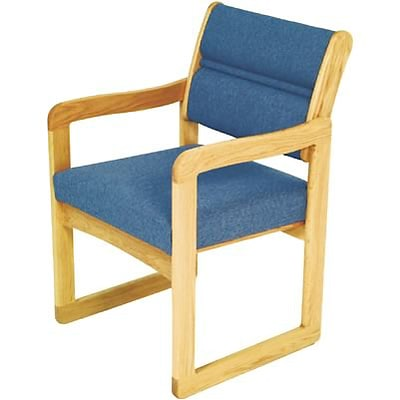 Wooden Mallet® Dakota Wave Series Single Base Chairs with Arms in Vinyl; Blue