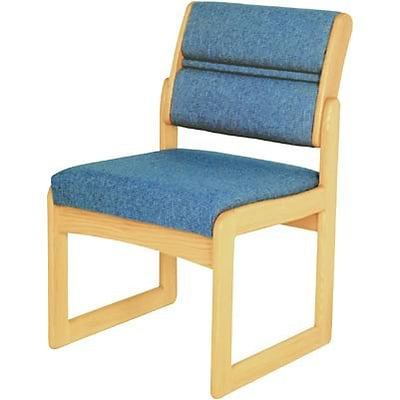 Wooden Mallets® Dakota Wave Series Single Base Armless Chair in Light Oak; Powder Blue
