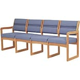 Wooden Mallets® Powder Blue/Lt. Oak Quadruple Sled Base Sofa