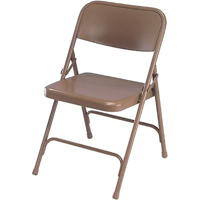 National Public Seating Premium All-Steel Folding Chairs; Beige