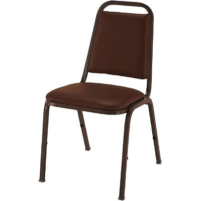 KFI® Vinyl Dome Seat Stacking Chairs; Brown Vinyl/Mocha Frame