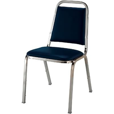 KFI® Vinyl Dome Seat Stacking Chairs; Blue Vinyl/Chrome Frame