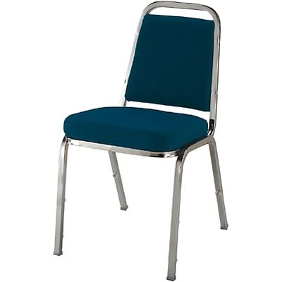 KFI® Crown Seat Fabric Stacking Chairs; Blue Fabric/Chrome Frame