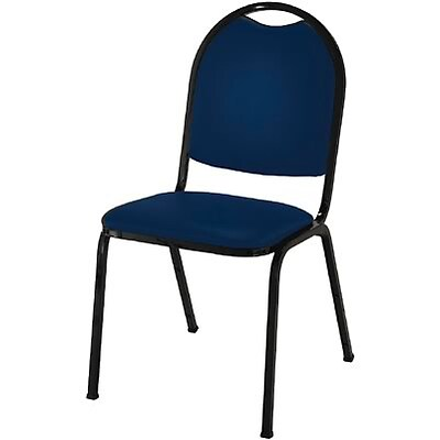 KFI® Round Back Fabric Stacking Chairs; Blue Fabric/Black Frame