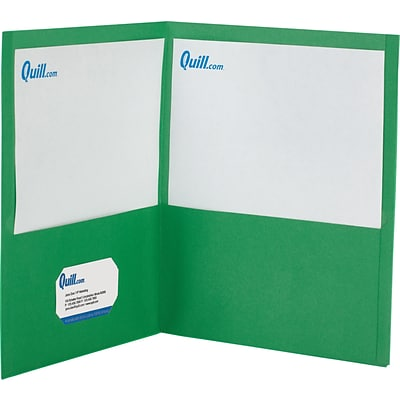 Quill Brand® 2-Pocket Folders without Fasteners; Green