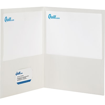 Quill Brand® 2-Pocket Folders without Fasteners; White