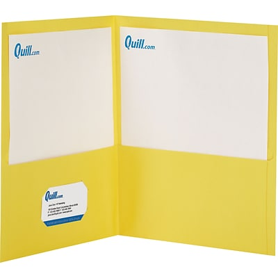 Quill Brand® 2-Pocket Folders without Fasteners; Yellow
