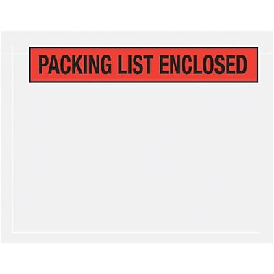 Self-Adhesive 7 x 5-1/2 Packing List Envelopes; Red Panel Face, 1000/PK