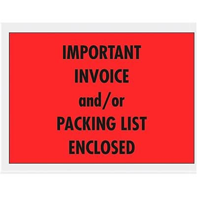 Self-Adhesive Important Invoice or Packing List Enclosed Envelopes, 1000/BX