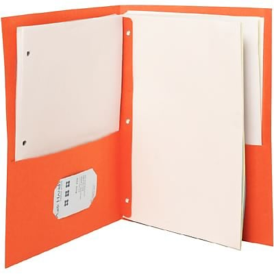 Quill Brand® 2-Pocket With Fastener Folders; Orange