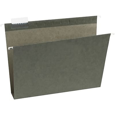 Quill Brand® Reinforced 5-Tab Box Bottom Hanging File Folders with 2 Expansion, Letter, Dark Green, 25/Bx (730051)