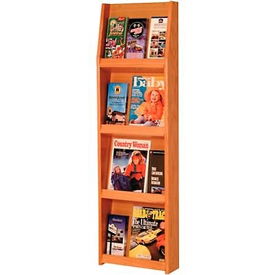 Wooden Mallet Full-View Wall-Mounted Literature Display; 12-Pocket, Oak Finish, 49x15x4-3/4