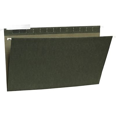 Quill Brand® Standard Green 100% Recycled Hanging File Folders; 1/3-Cut Adjustable Tabs, Legal Size, 25/BX
