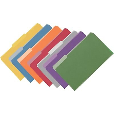 Quill Brand® Colored File Folders; 1/3-Cut Assorted Tabs, Legal Size, 7 Color Assortment, 100/BX