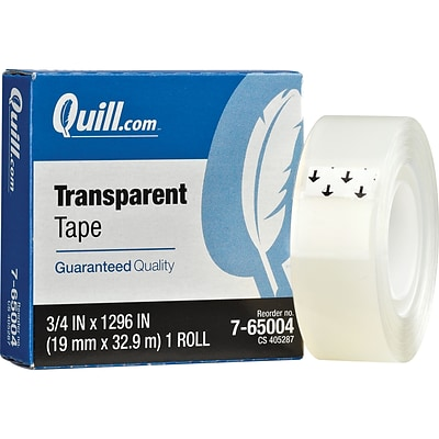 Quill Brand® Transparent Tape; Glossy Finish, 3/4 x 1296, Single Roll