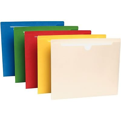 Quill Brand® Colored File Jackets; Legal Size, 2 Expansion, Assorted, 50/Box