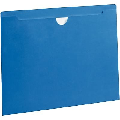 Quill Brand® Colored File Jackets; Letter Size, Flat, Blue, 100/Box