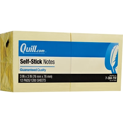 Quill Brand® Self-Stick Sticky Flat Notes; 3 x 3, Yellow, 12 Pack