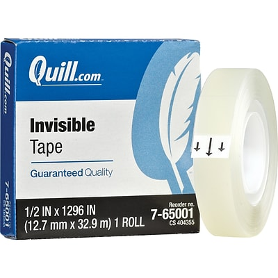 Quill Brand® Invisible Tape; Matte Finish, 1/2 x 1296, Single Roll