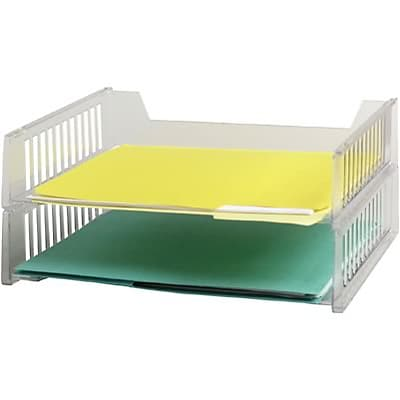 quill brand stackable paper trays letter size clear